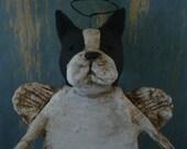 Boston Terrier Angel, OOAK, handmade from papier mache, carrying garland of stars, BOSTON ANGEL