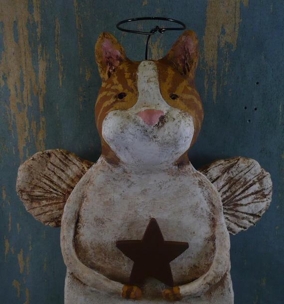 Primitive Cat Angel, OOAK handmade from papier mache, ORANGE TIGER Angel