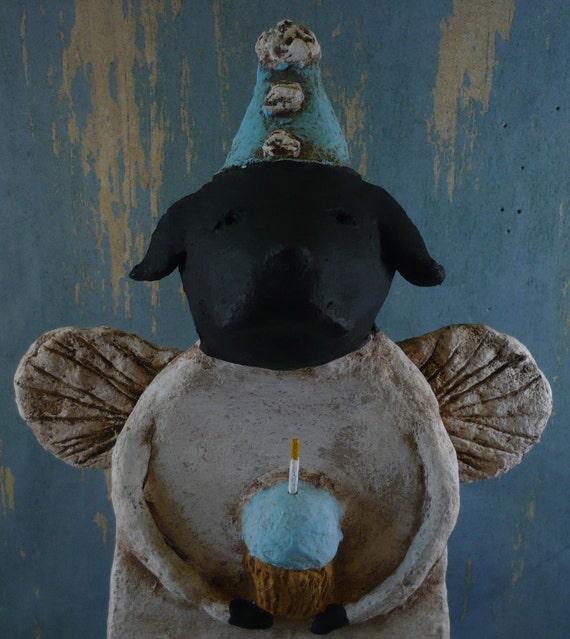 Black Lab Birthday Angel, OOAK, hand-sculpted from papier mache, BIRTHDAY LAB