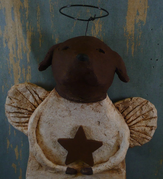 Chocolate Lab Angel OOAK, hand-sculpted from papier mache