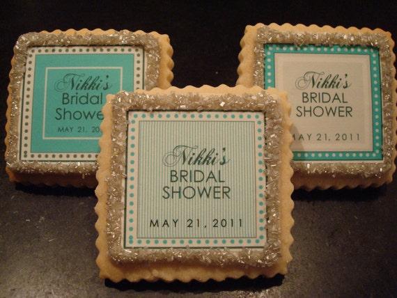 Personalized Wedding Favor Shortbread Cookie Shower Favor Robins Egg Tiffany Blue