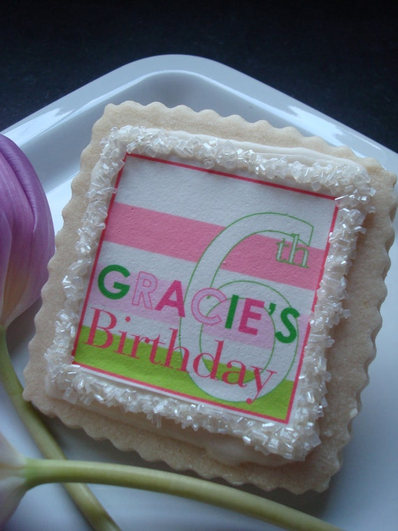 Blush Pink Hot Pink and Spring Green Custom Shortbread Cookie Favors