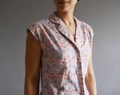 1970's floral summer blouse xs / s