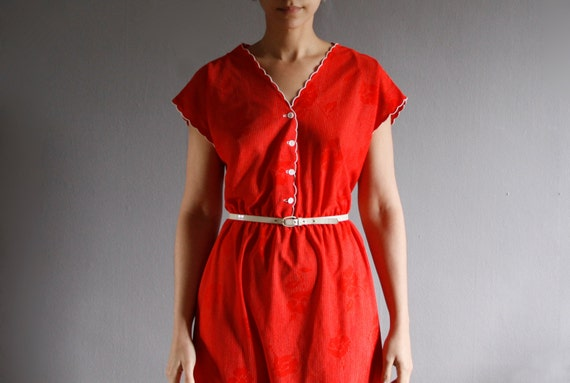 1970's red rose day dress l / xl