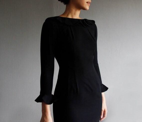1960's black wiggle dress xs / s . vintage ruffled cocktail dress