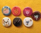 "7 ""Adventure Time"" pinback button set"