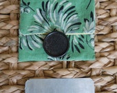 Coin Purse, Card Holder, Pouch, Vintage Fabric and Button, Green and Black