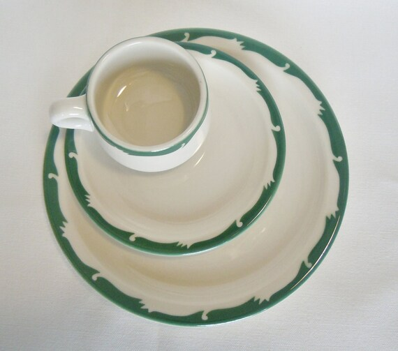 Vintage Syracuse Place Setting, Two Plates, One Mug, Green Band, Restaurant Ware