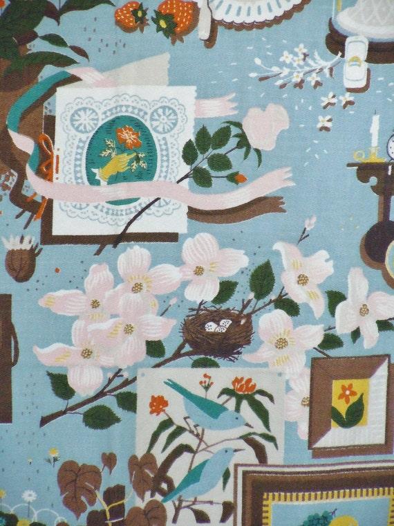 Incredible Barkcloth Panel, Novelty Print, Fabric, Butterflies, Birds, Bridal, Yards