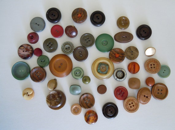 40 Plus Buttons, Button Collection, Destash, Brown, Green, Wood, Plastic, Metal