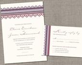 DIY Printable - Elegant Lace Border Wedding Invitation and Reply Card Set