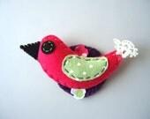 Felt Bird Magnet. One magnet. Bird decoration. Felt Magnet. Colorful magnet.