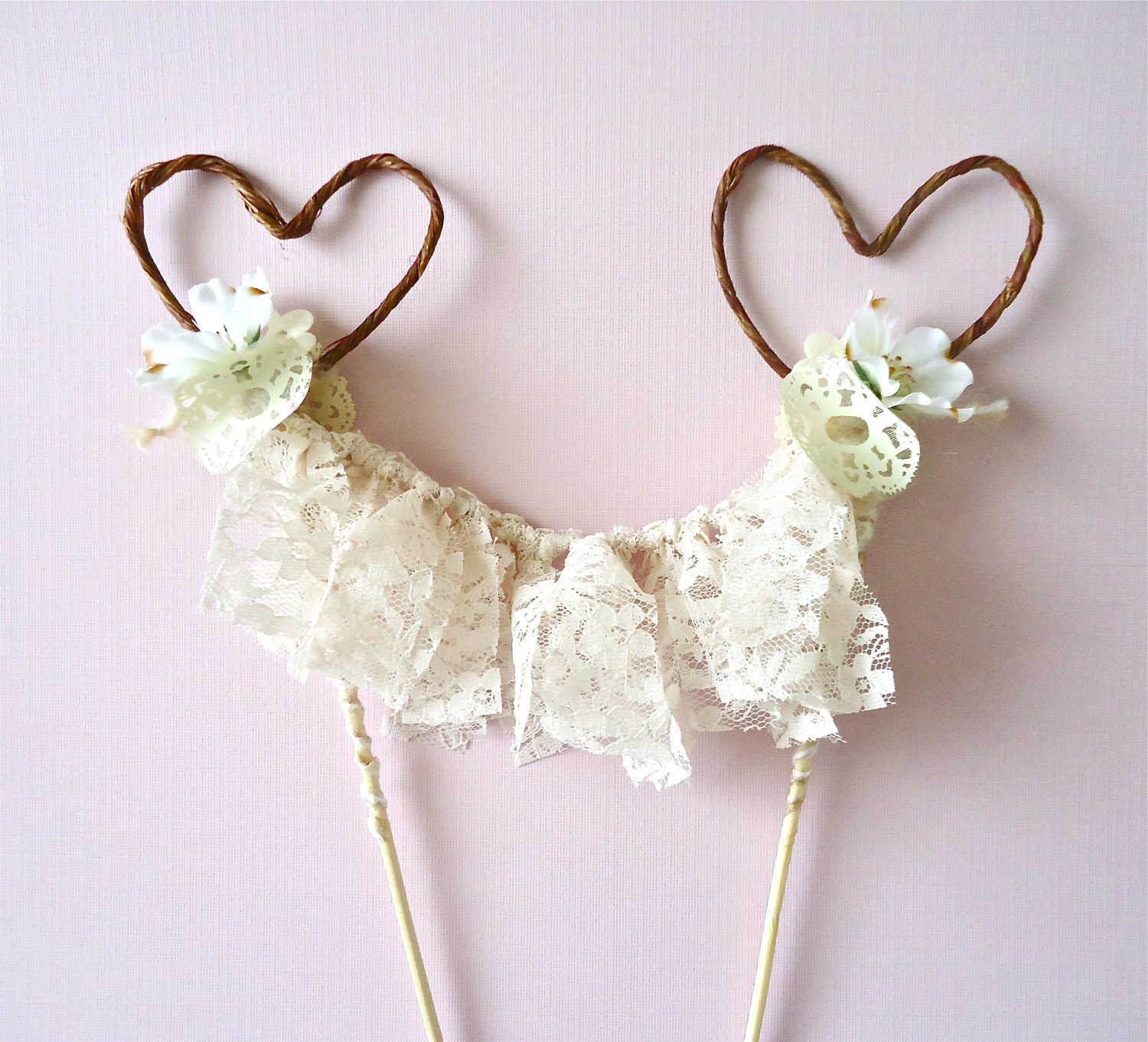 unique wedding cake topper hearts and lace by