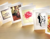 6 Card Set - Your choice of any 6 images from my shop as note cards with hand-stitched envelopes