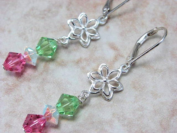Silver Flower Earrings - Pink and Green Accessory - Swarovski Crystal - Preppy Pink and Green Sterling Flower Earrings