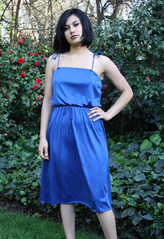 bluebird song vintage deep blue silky 70s disco era dress