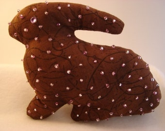 """Rabbit -  """"Sprinkles""""   -  Boutique Style Bunny - with hand stitched beads"""