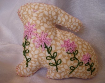 Bunny Rabbit - Flower Patch- Hand Embroidered