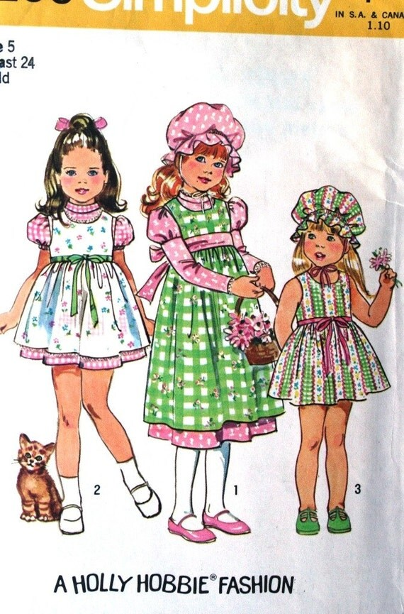 vintage 70's HOLLY HOBBIE dress, jumper and cap, UNCUT Simplicity 6299, size 5 breast 24