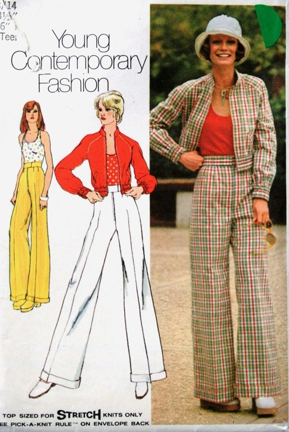 vintage 70's Simplicity 5510 jacket, HALTER TOP, and pants, young junior teen size 13 14 bust 33.5
