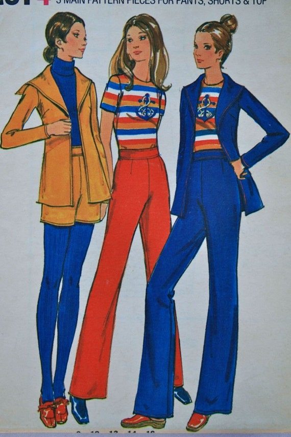 vintage 70's Butterick 6507 EASY pant shorts top and SAILOR jacket, UNCUT, size 12 bust 34,