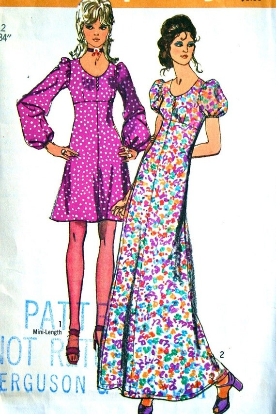 vintage 70's Simplicity 9446 dress in 2 lengths, size 12 bust 34