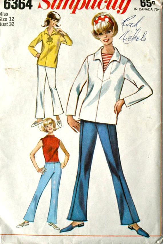 vintage 60's Simplicity 6364 Sailor blouse and bell bottom pants, size 12 bust 32