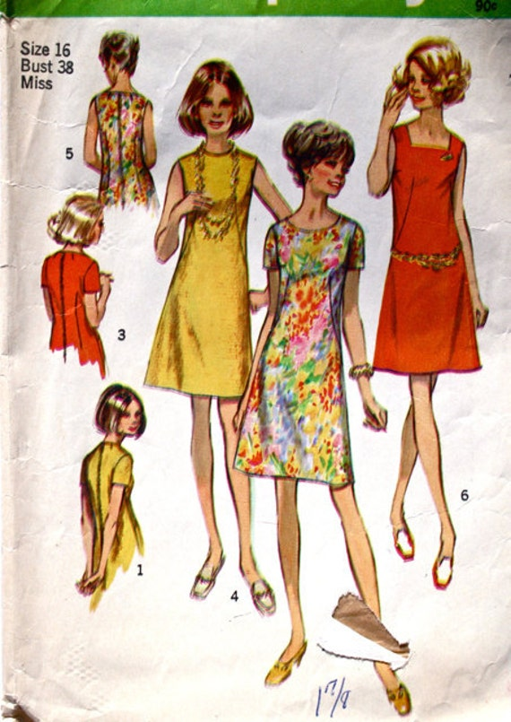 vintage 60's 70's Simplicity 8882 Aline dress in 6 versions, size 16 bust 38