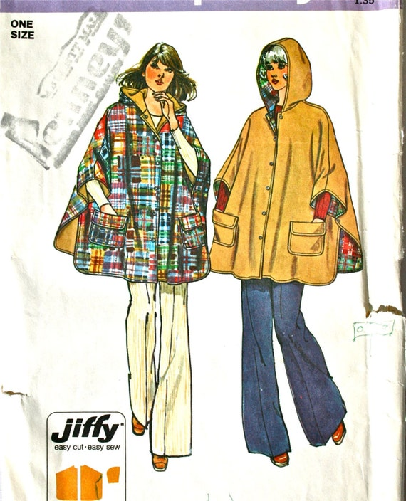 vintage 70's Simplicity 6630 REVERSIBLE hooded poncho, UNCUT, one size