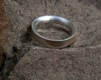 Simple Handmade Brushed Silver Ring