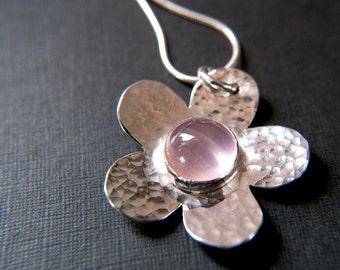 Sterling Silver Rose Quartz Flower Pendant - Handmade