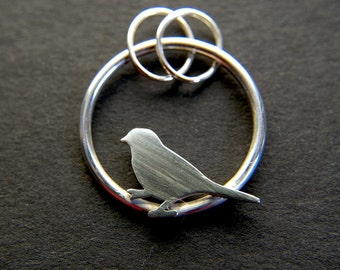 Sterling silver Sparrow Bird Pendant - Pedro for bird lovers everywhere