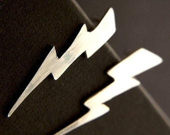 Sterling Silver Lightning Bolt Earrings Handmade