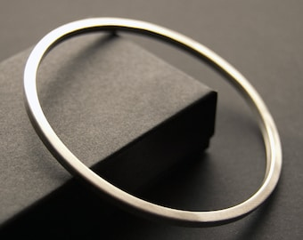 Square Peg/Round Hole Sterling Silver Bangle Handmade