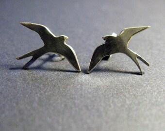 Handmade sterling silver swallow bird Ear Studs for bird lovers