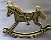 2 pcs BIG Rocking Horse, Antiqued Brass Plated Charms Pendant