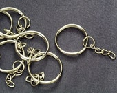 50 pcs / 24 mm Silver Plated Key Chain with Split Ring