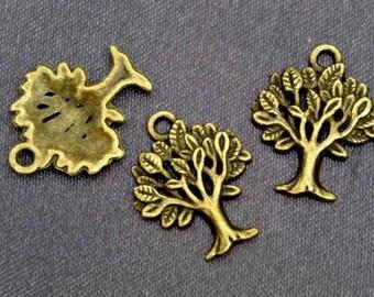 15 pcs TREE, Antique Brass Plated Charm Pendant