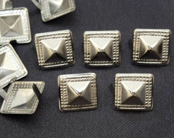 100 pcs 10mm Silver SQUARE ROUND Point Studs Spots NAILHEADS
