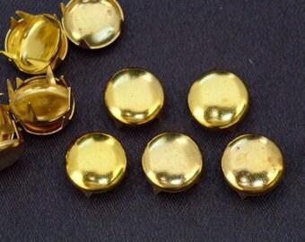 100 pcs 10mm Gold Tone Round Flat STUDS NAILHEADS Spike