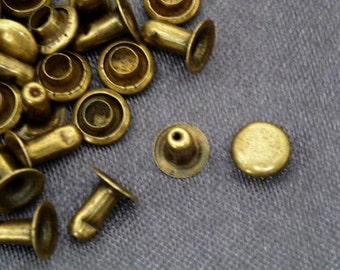 100 sets 5mm antique brass  FLAT Round Rapid Rivet Stud
