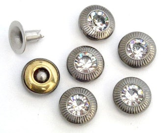 15 sets 7.5mm Clear Glass Rhinestone with Vintage Frame Pattern Rapid Rivet Stud more chic gorgeous for bag, pusre and craft project