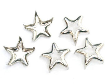 100 pcs 13mm silver / nickel Star Studs Biker Spikes spots nailheads prong