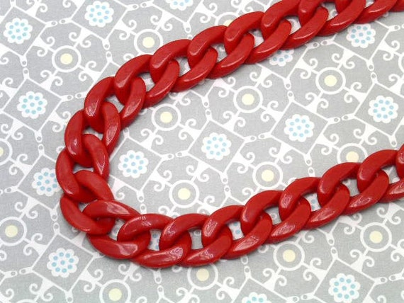 30 inch acrylic plastic  LINK CHAINS necklace / red