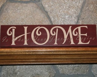 Home is where your journey begins Hand Painted wooden sign