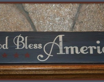 God Bless America Hand Painted Wooden Sign