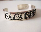 Southwest Native American Made and Signed Kokopelli Sterling Silver Cuff Bracelet