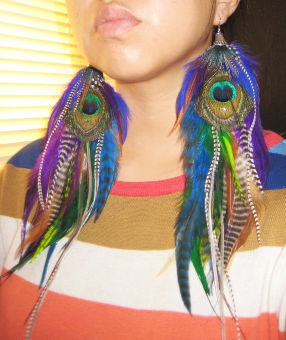 Jungle Fever - Extra Long Colorful Feather Earrings 14 inches