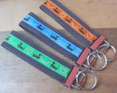Pick a Wiener  - Choose your favorite color.  Dachshund Key Fob - Wristlet - Key Chain - Premium European Woven Ribbon