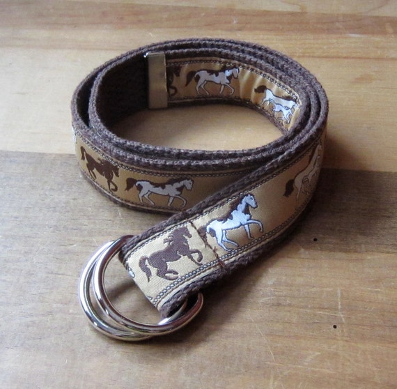 D-Ring Belt - Toddler Children Kids - Horse Print Woven Ribbon on Brown